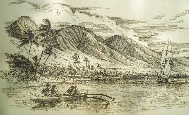 Maui-History-Engraving-American-Boat-Hawaiians-in-Canoe400px
